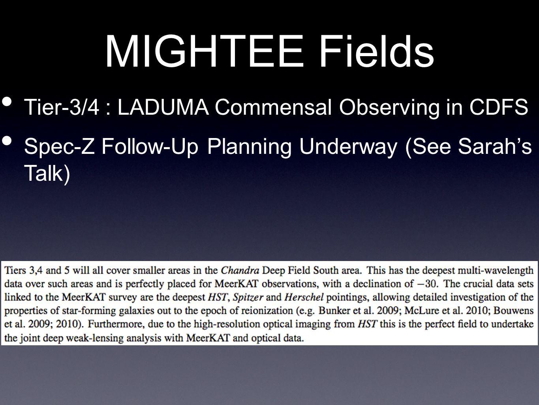 MIGHTEE Fields Tier-3/4 : LADUMA Commensal Observing in CDFS Spec-Z Follow-Up Planning Underway (See Sarah's Talk)