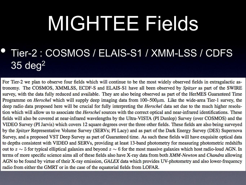MIGHTEE Fields Tier-2 : COSMOS / ELAIS-S1 / XMM-LSS / CDFS 35 deg 2
