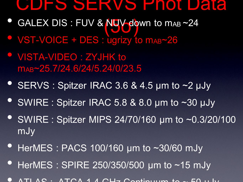 CDFS SERVS Phot Data (5σ) GALEX DIS : FUV & NUV down to m AB ~24 VST-VOICE + DES : ugrizy to m AB ~26 VISTA-VIDEO : ZYJHK to m AB ~25.7/24.6/24/5.24/0/23.5 SERVS : Spitzer IRAC 3.6 & 4.5 μm to ~2 μJy SWIRE : Spitzer IRAC 5.8 & 8.0 μm to ~30 μJy SWIRE : Spitzer MIPS 24/70/160 μm to ~0.3/20/100 mJy HerMES : PACS 100/160 μm to ~30/60 mJy HerMES : SPIRE 250/350/500 μm to ~15 mJy ATLAS : ATCA 1.4 GHz Continuum to ~ 50 μJy