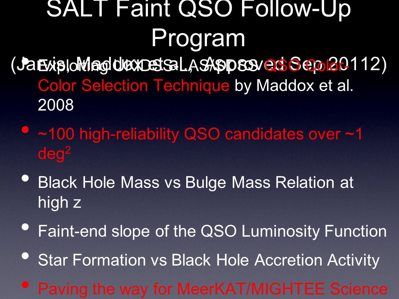 SALT Faint QSO Follow-Up Program (Jarvis, Maddox et al., Approved Sep 20112) Exploiting UKIDSS-LAS/SDSS QSO Color- Color Selection Technique by Maddox et al.
