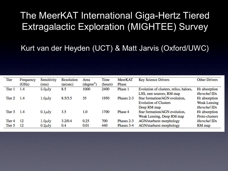 The MeerKAT International Giga-Hertz Tiered Extragalactic Exploration (MIGHTEE) Survey Kurt van der Heyden (UCT) & Matt Jarvis (Oxford/UWC)