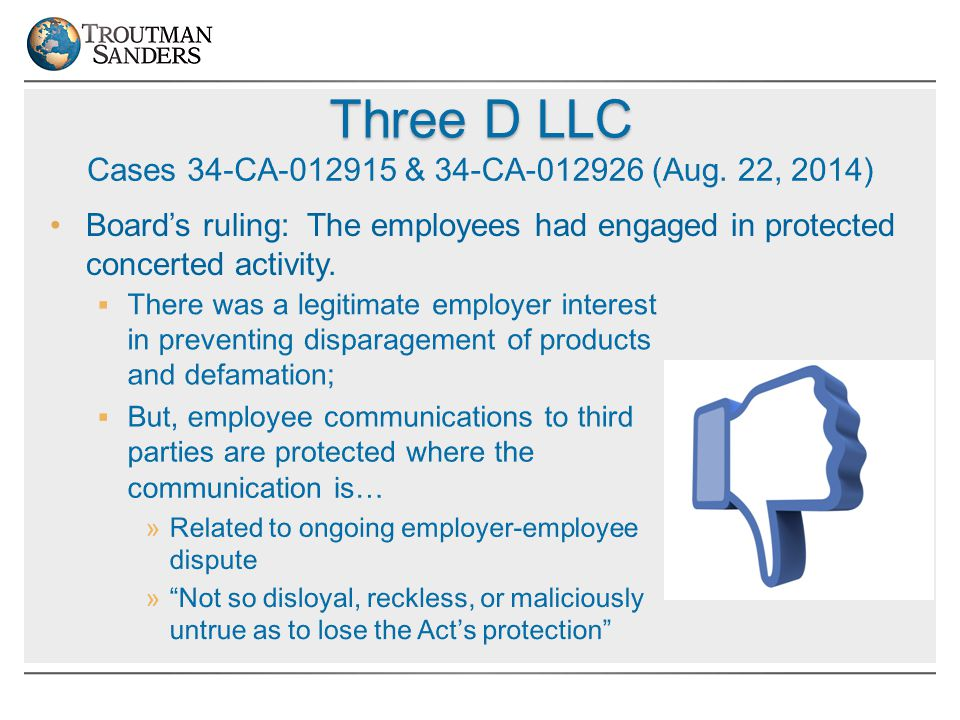 Board's ruling: The employees had engaged in protected concerted activity.