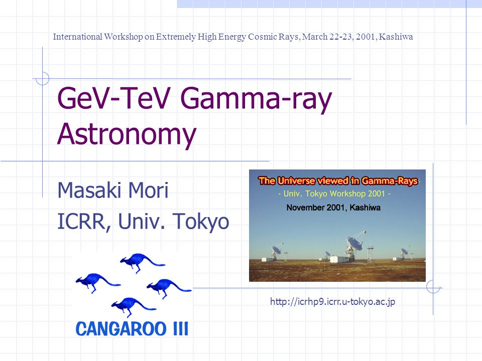 GeV-TeV Gamma-ray Astronomy Masaki Mori ICRR, Univ.