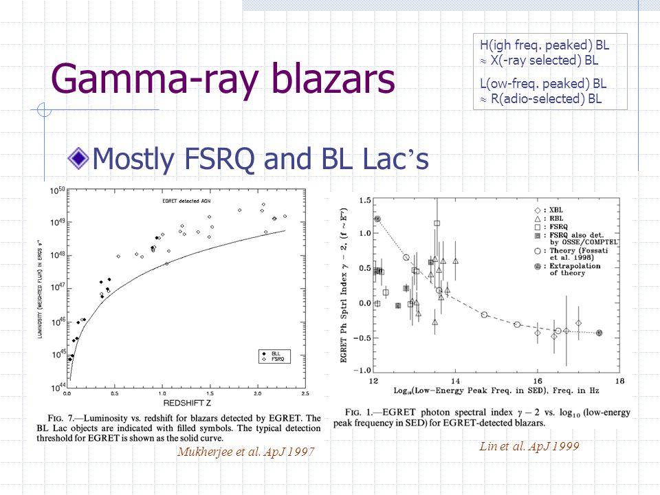 Gamma-ray blazars Mostly FSRQ and BL Lac ' s Lin et al.