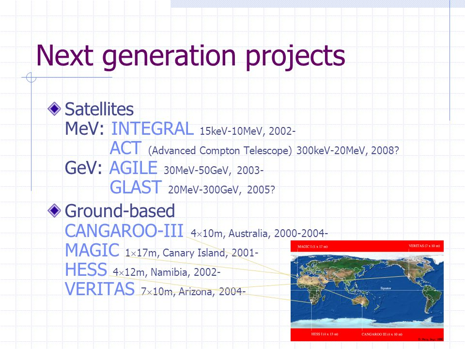Next generation projects Satellites MeV: INTEGRAL 15keV-10MeV, 2002- ACT (Advanced Compton Telescope) 300keV-20MeV, 2008.