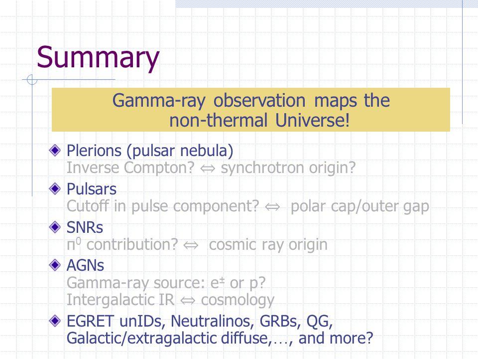 Summary Plerions (pulsar nebula) Inverse Compton. ⇔ synchrotron origin.