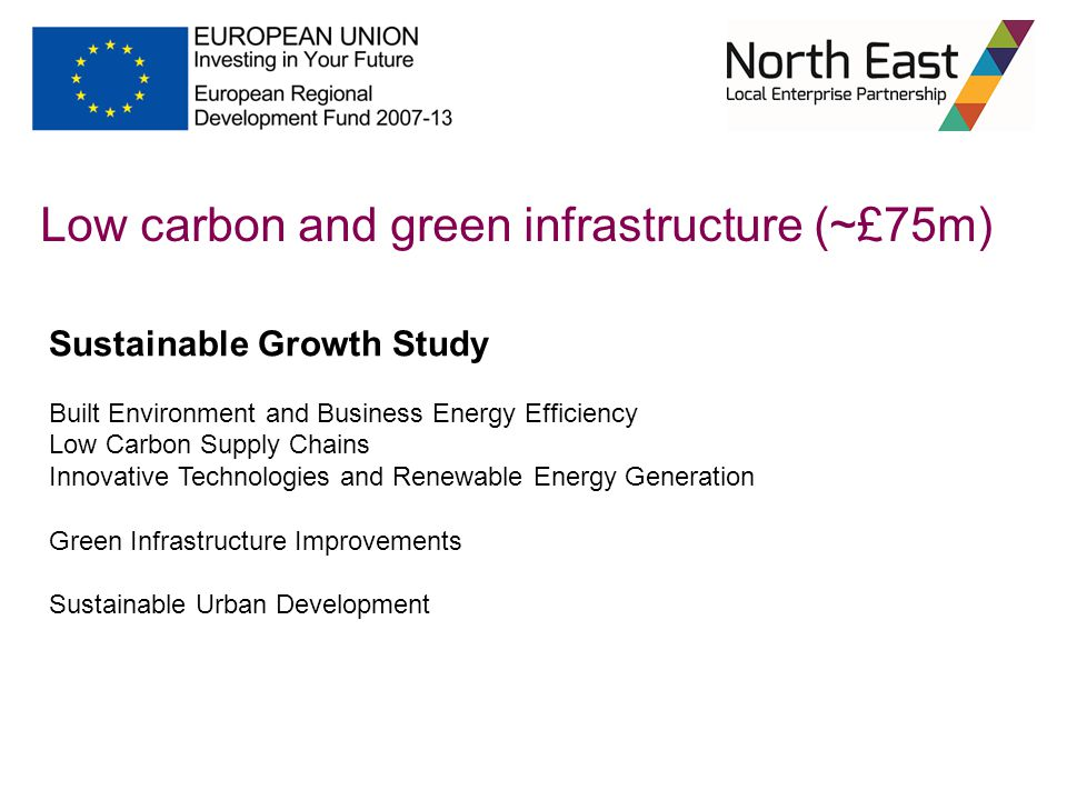 Low carbon and green infrastructure (~£75m) Sustainable Growth Study Built Environment and Business Energy Efficiency Low Carbon Supply Chains Innovat