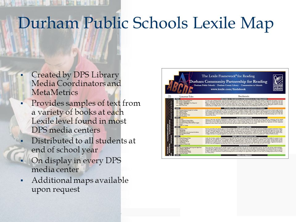 Durham Public Schools Lexile Map  Created by DPS Library Media Coordinators and MetaMetrics  Provides samples of text from a variety of books at eac