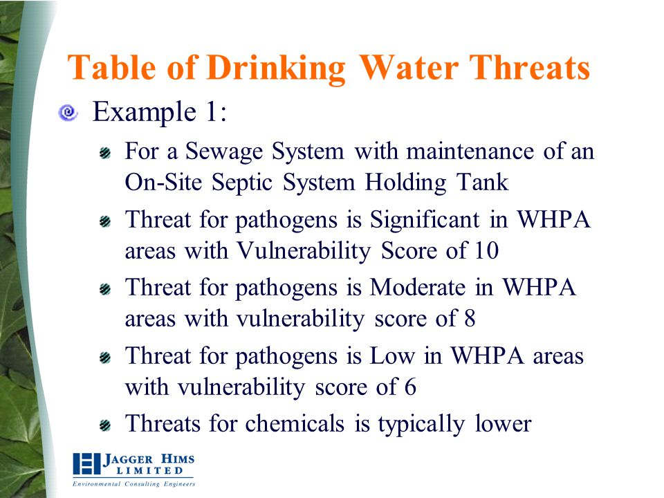 Table of Drinking Water Threats Example 1: For a Sewage System with maintenance of an On-Site Septic System Holding Tank Threat for pathogens is Signi