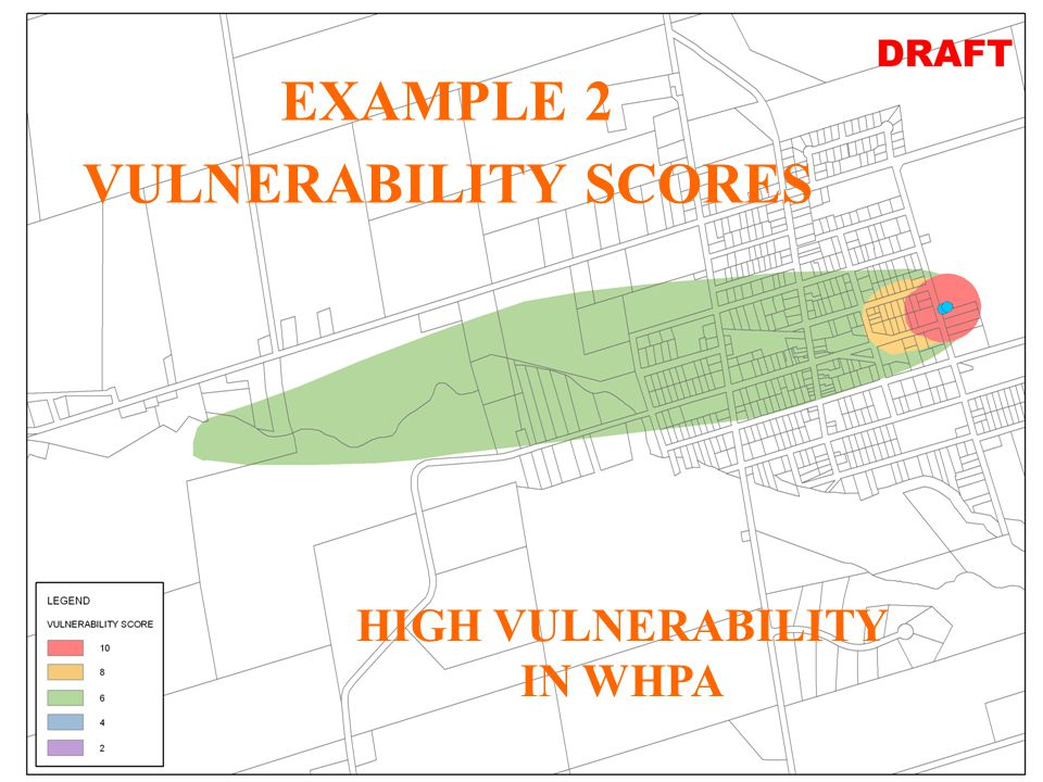 29 JHL WHPA for Creemore (Unlabelled) Vulnerability Scores with Pathways EXAMPLE 2 VULNERABILITY SCORES HIGH VULNERABILITY IN WHPA