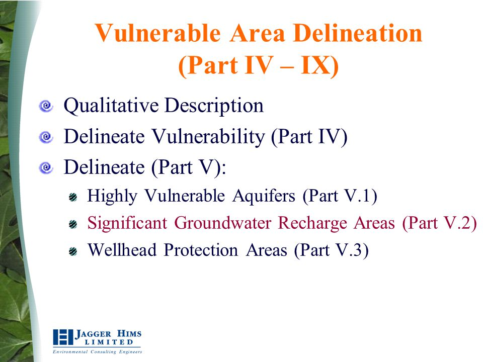 Significant, Moderate or Low Threats List Activities that would be drinking water threats in Vulnerable Areas Table of Drinking Water Threats developed on Risk-Based Process as per Rule 112- 119 For each Activity/Condition (Property) identify threats as significant, moderate, or low based on Vulnerability Score