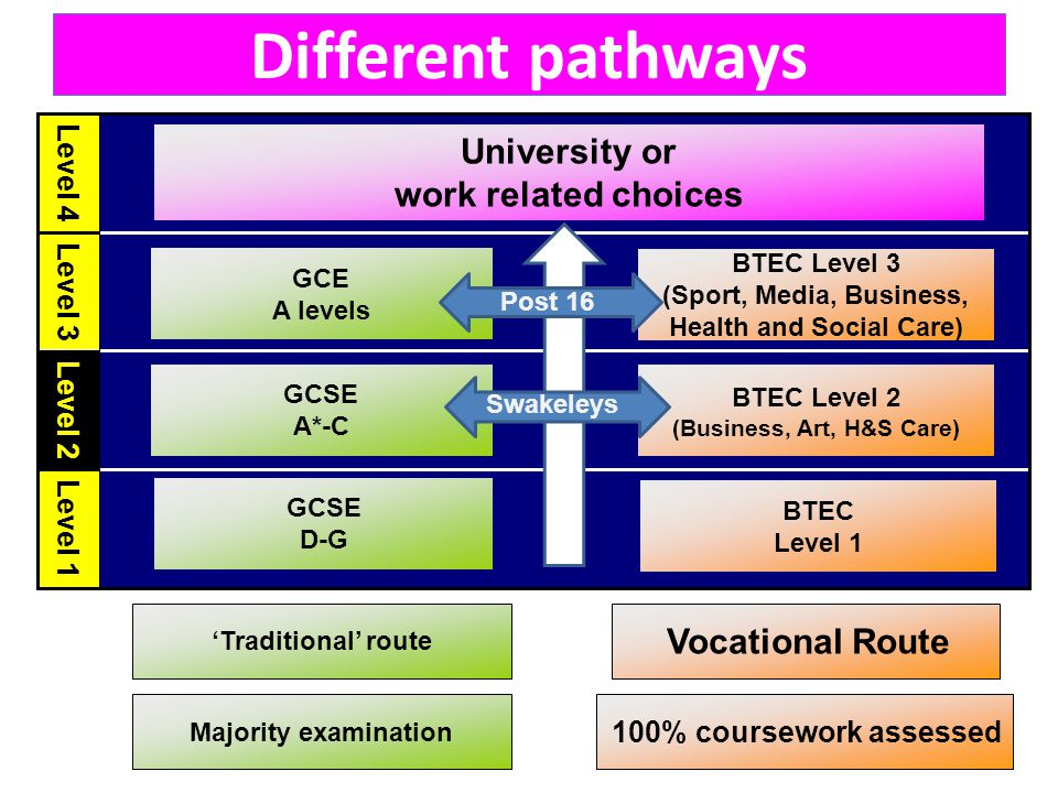Level 1 Level 2 Level 3 Level 4 GCSE A*-C GCE A levels BTEC Level 1 BTEC Level 2 (Business, Art, H&S Care) BTEC Level 3 (Sport, Media, Business, Health and Social Care) 'Traditional' route Vocational Route GCSE D-G 100% coursework assessed Majority examination University or work related choices Different pathways Swakeleys Post 16