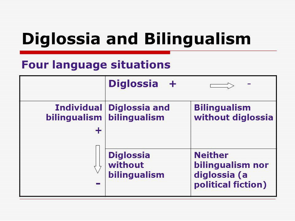 Diglossia and Bilingualism Four language situations Diglossia + - Individual bilingualism + - Diglossia and bilingualism Bilingualism without diglossi