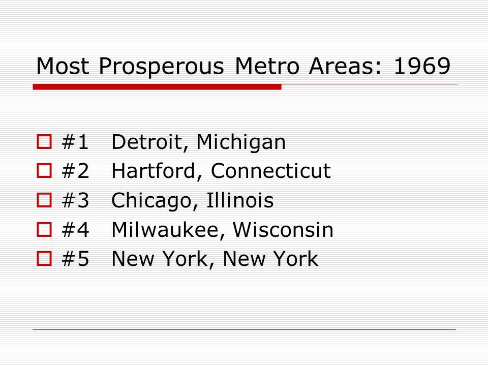 Most Prosperous Metro Areas: 1969  #1 Detroit, Michigan  #2 Hartford, Connecticut  #3 Chicago, Illinois  #4 Milwaukee, Wisconsin  #5 New York, New York