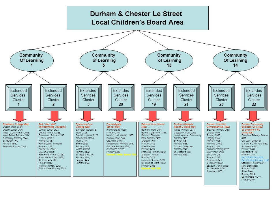 Durham & Chester Le Street Local Children's Board Area Community Of Learning 1 Community of Learning 5 Community Of Learning 14 Extended Services Cluster 1 Extended Services Cluster 3 Extended Services Cluster 20 Roseberry College 4042; Ouston Infant 2137; Ouston Junior 2136; Pelton Com Primary 2005; West Pelton Primary 2114; Roseberry Primary 2744; St.