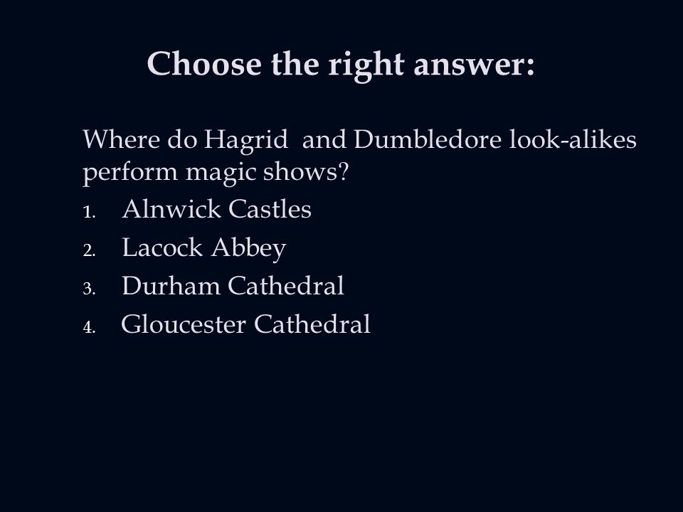 Choose the right answer: Where do Hagrid and Dumbledore look-alikes perform magic shows.
