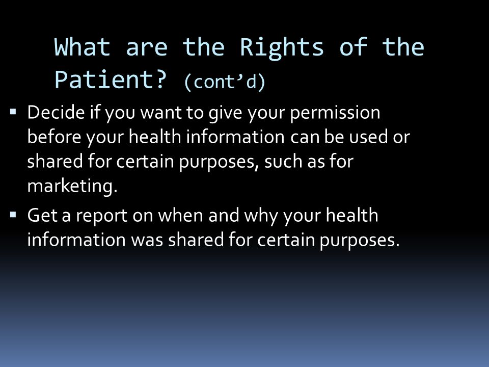 What are the Rights of the Patient.