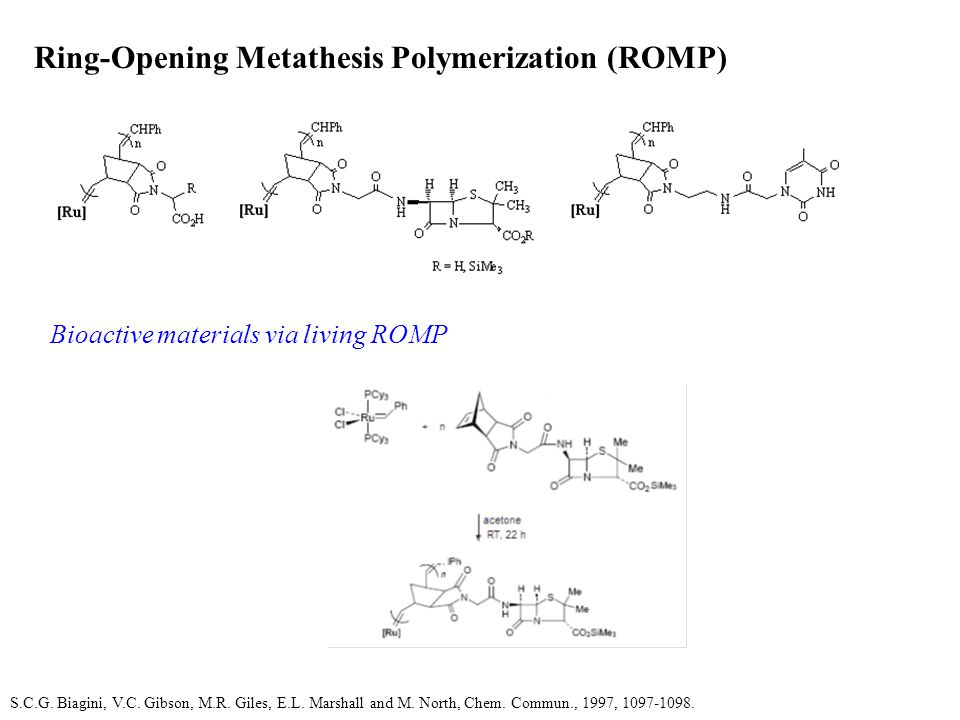 Ring-Opening Metathesis Polymerization (ROMP) Bioactive materials via living ROMP S.C.G.