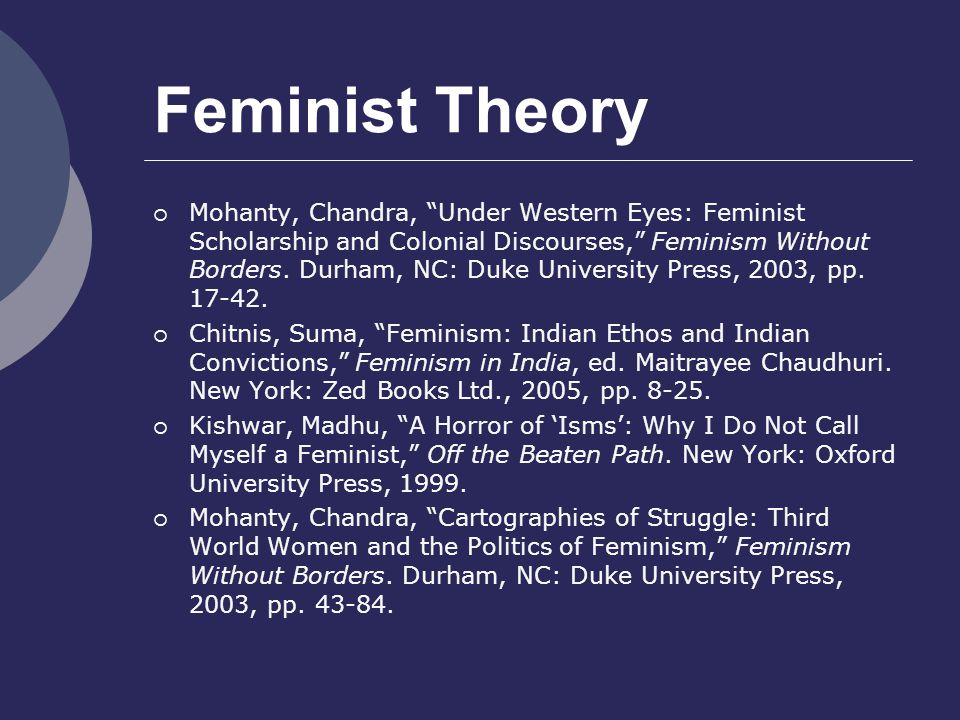 Feminist Theory  Mohanty, Chandra, Under Western Eyes: Feminist Scholarship and Colonial Discourses, Feminism Without Borders.