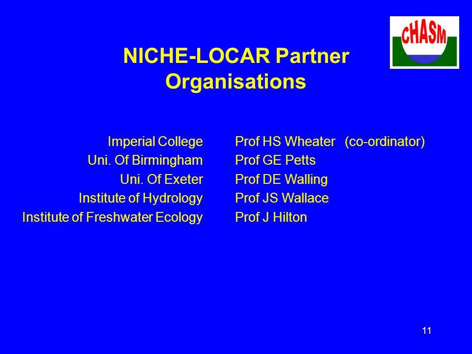 11 NICHE-LOCAR Partner Organisations Imperial College Uni.