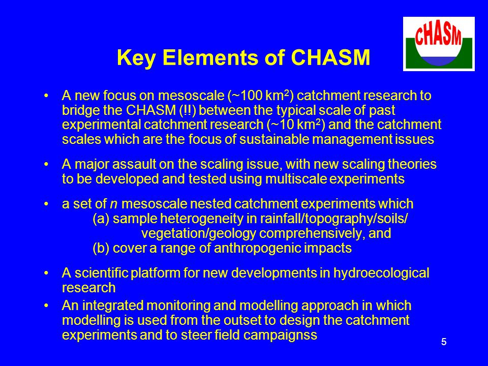 5 Key Elements of CHASM A new focus on mesoscale (~100 km 2 ) catchment research to bridge the CHASM (!!) between the typical scale of past experimental catchment research (~10 km 2 ) and the catchment scales which are the focus of sustainable management issues A major assault on the scaling issue, with new scaling theories to be developed and tested using multiscale experiments a set of n mesoscale nested catchment experiments which (a) sample heterogeneity in rainfall/topography/soils/ vegetation/geology comprehensively, and (b) cover a range of anthropogenic impacts A scientific platform for new developments in hydroecological research An integrated monitoring and modelling approach in which modelling is used from the outset to design the catchment experiments and to steer field campaignss