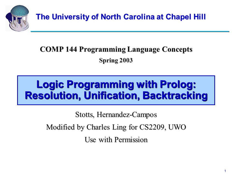 1 Logic Programming with Prolog: Resolution, Unification, Backtracking COMP 144 Programming Language Concepts Spring 2003 Stotts, Hernandez-Campos Mod