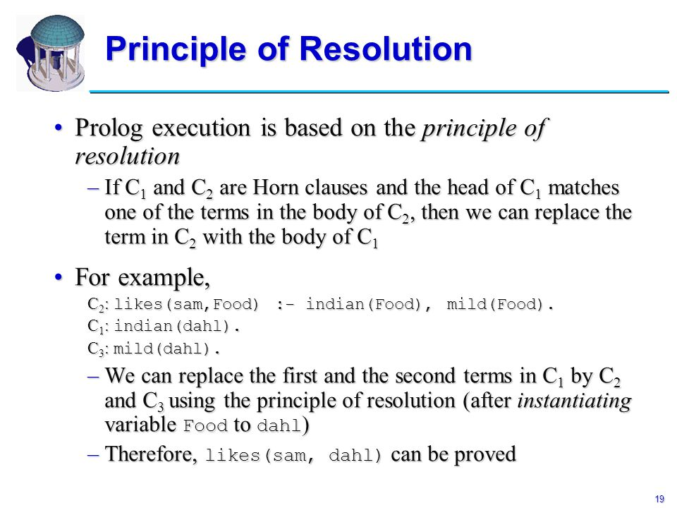 19 Principle of Resolution Prolog execution is based on the principle of resolutionProlog execution is based on the principle of resolution –If C 1 an