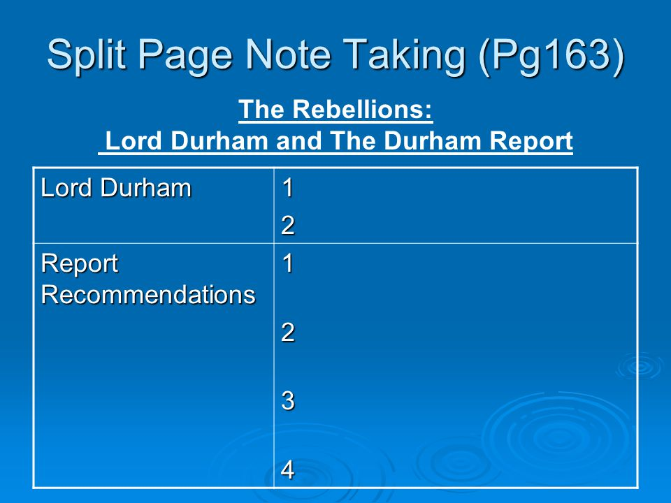 Split Page Note Taking (Pg163) Lord Durham 12 Report Recommendations 1234 The Rebellions: Lord Durham and The Durham Report