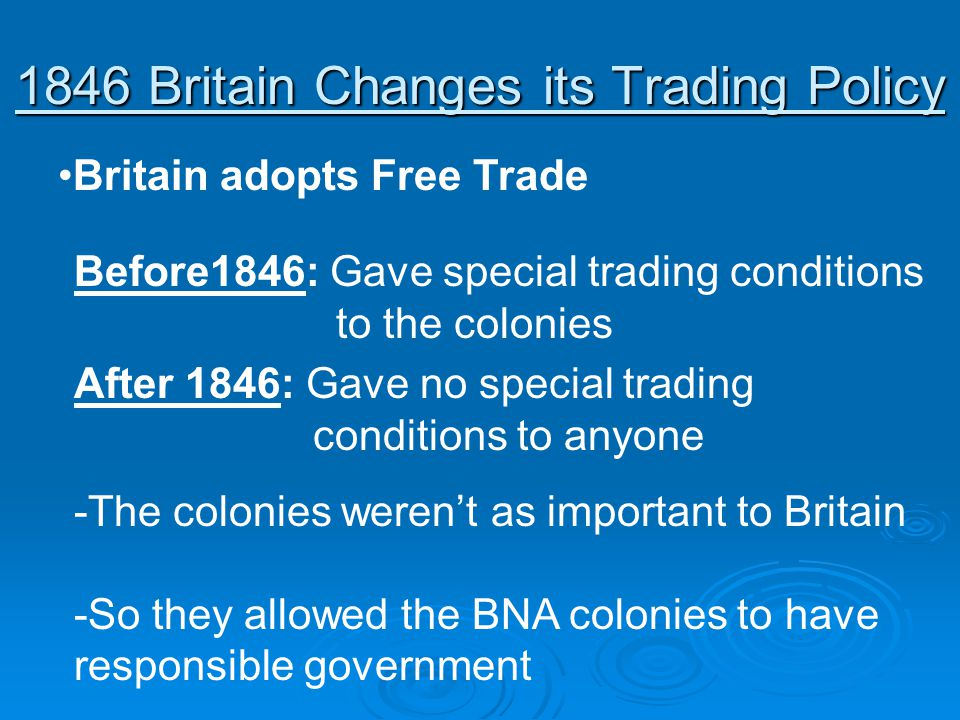 1846 Britain Changes its Trading Policy Britain adopts Free Trade Before1846: Gave special trading conditions to the colonies After 1846: Gave no spec