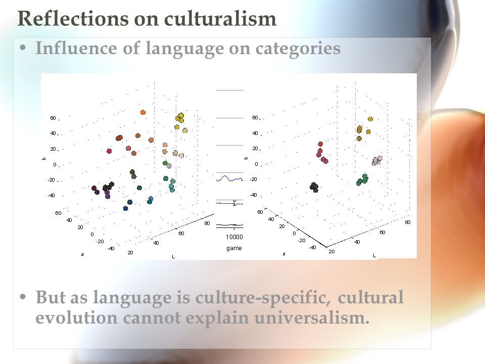 Reflections on culturalism Influence of language on categories But as language is culture-specific, cultural evolution cannot explain universalism.