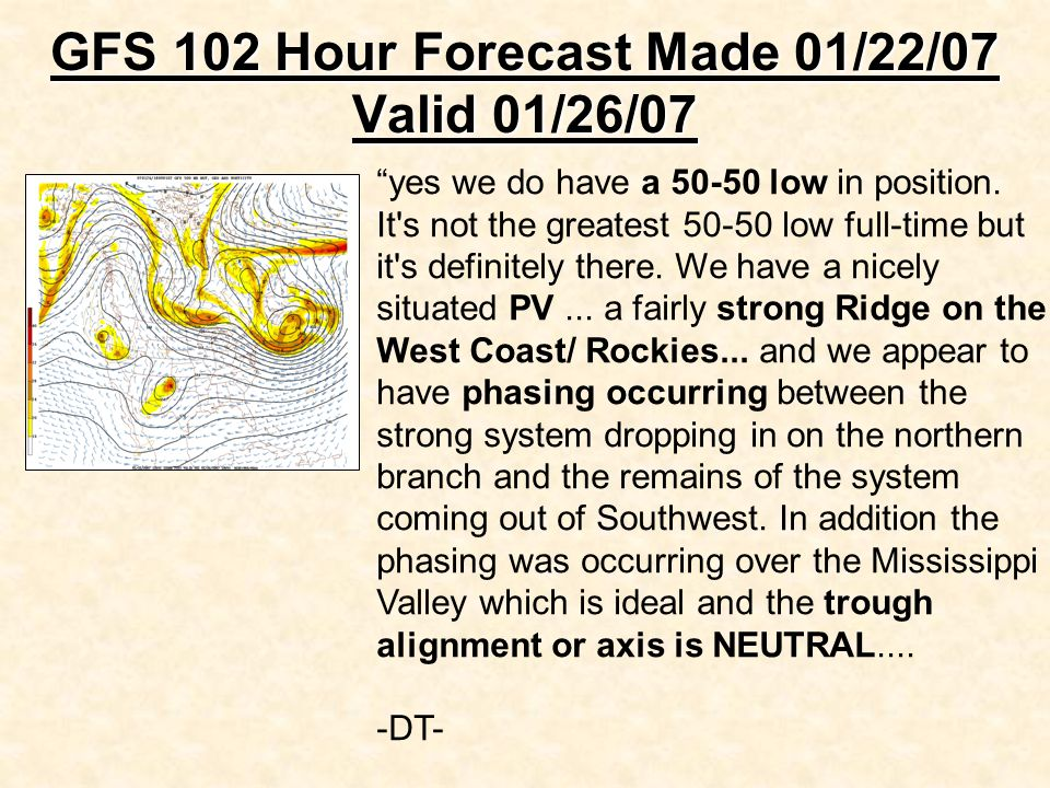 """GFS 102 Hour Forecast Made 01/22/07 Valid 01/26/07 """"yes we do have a 50-50 low in position. It's not the greatest 50-50 low full-time but it's definit"""