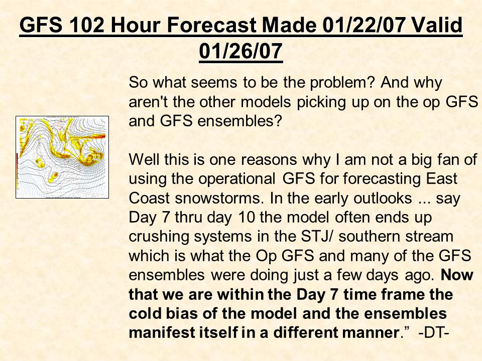 GFS 102 Hour Forecast Made 01/22/07 Valid 01/26/07 So what seems to be the problem.