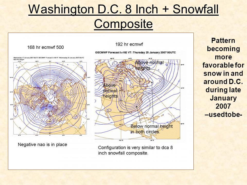 Washington D.C. 8 Inch + Snowfall Composite Pattern becoming more favorable for snow in and around D.C. during late January 2007 –usedtobe-