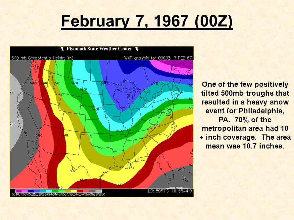 February 7, 1967 (00Z) One of the few positively tilted 500mb troughs that resulted in a heavy snow event for Philadelphia, PA.