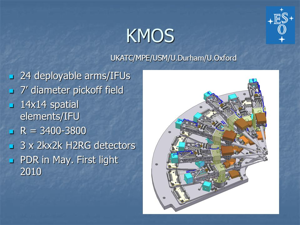 KMOS UKATC/MPE/USM/U.Durham/U.Oxford 24 deployable arms/IFUs 24 deployable arms/IFUs 7' diameter pickoff field 7' diameter pickoff field 14x14 spatial elements/IFU 14x14 spatial elements/IFU R = 3400-3800 R = 3400-3800 3 x 2kx2k H2RG detectors 3 x 2kx2k H2RG detectors PDR in May.
