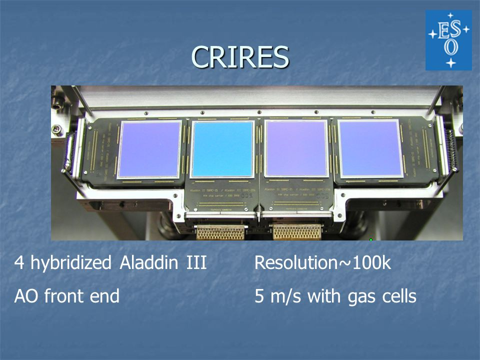 CRIRES 4 hybridized Aladdin IIIResolution~100k AO front end5 m/s with gas cells