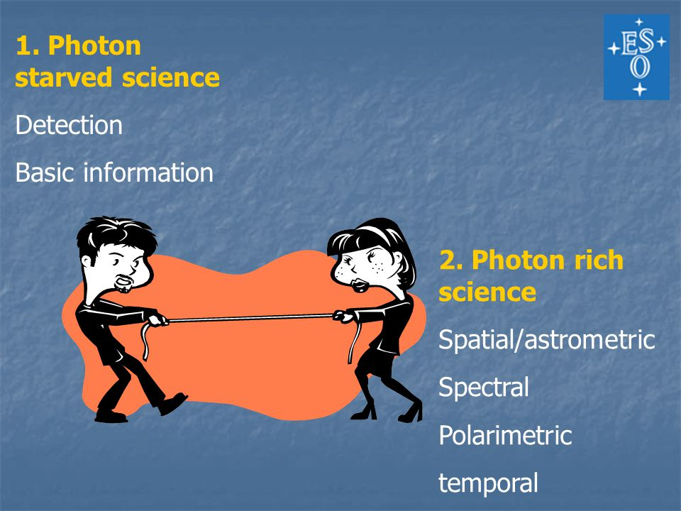 1.Photon starved science Finding the faintest/most distant objects The first galaxies.