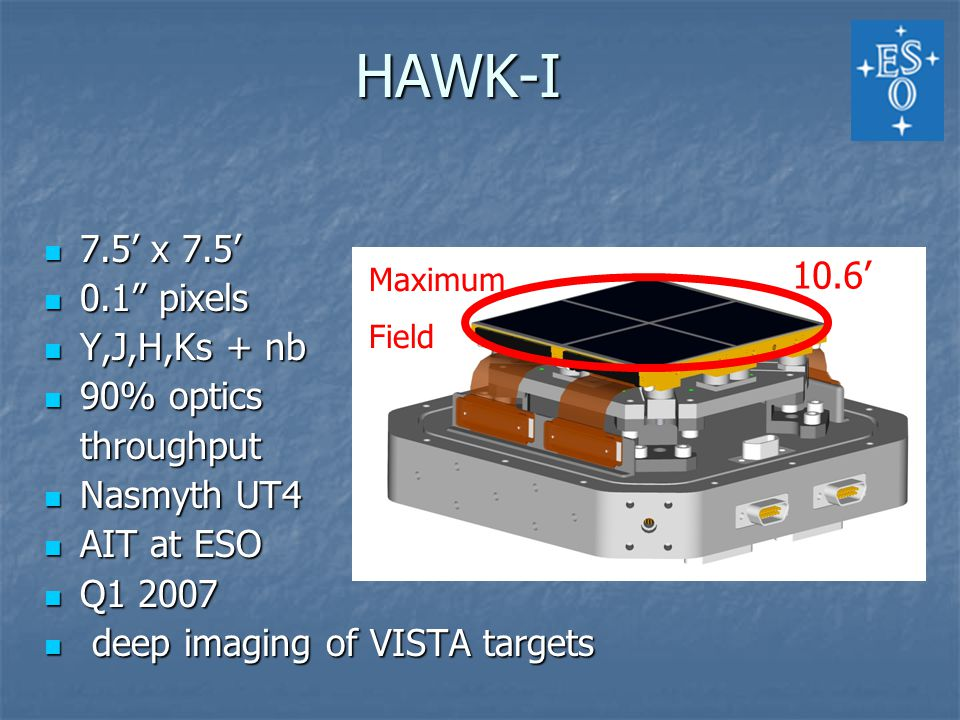 7.5' x 7.5' 7.5' x 7.5' 0.1 pixels 0.1 pixels Y,J,H,Ks + nb Y,J,H,Ks + nb 90% optics 90% opticsthroughput Nasmyth UT4 Nasmyth UT4 AIT at ESO AIT at ESO Q1 2007 Q1 2007 deep imaging of VISTA targets deep imaging of VISTA targets 10.6' Maximum Field HAWK-I