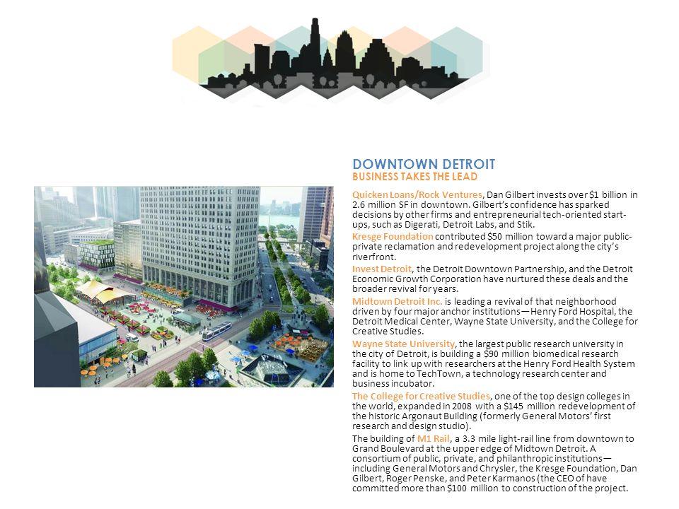 Quicken Loans/Rock Ventures, Dan Gilbert invests over $1 billion in 2.6 million SF in downtown.