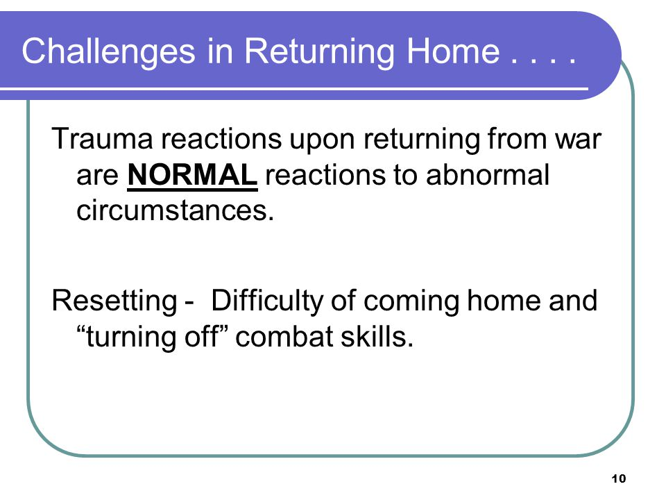 10 Challenges in Returning Home....