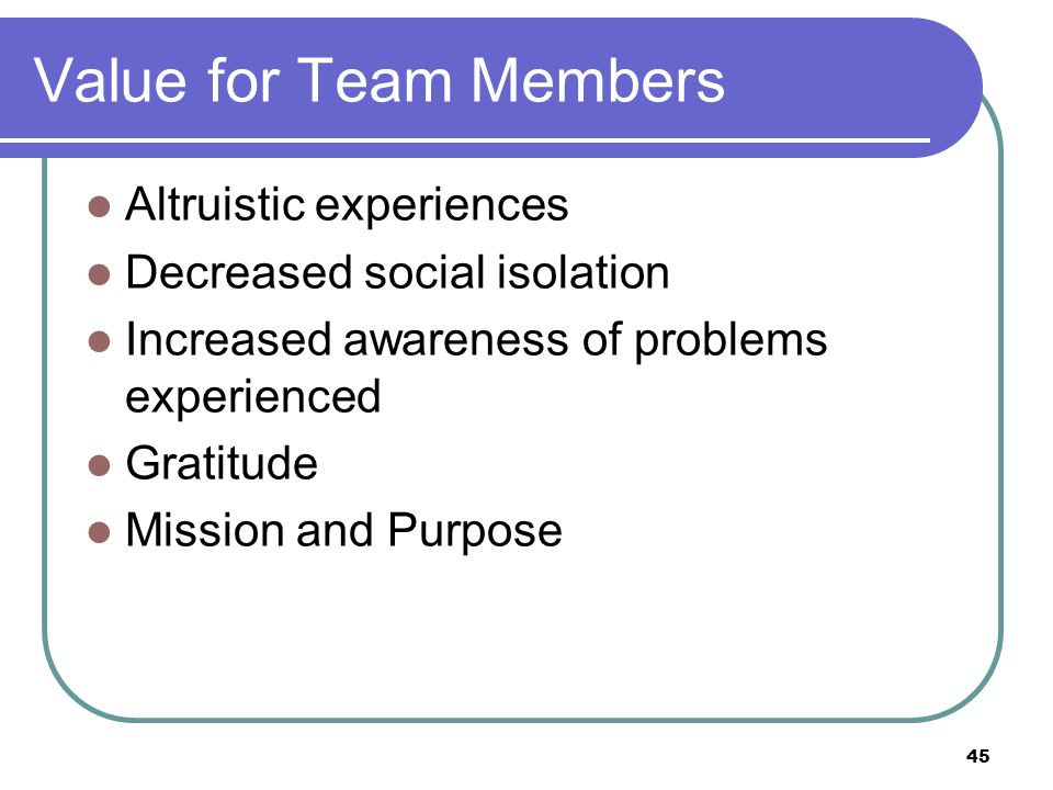 45 Altruistic experiences Decreased social isolation Increased awareness of problems experienced Gratitude Mission and Purpose Value for Team Members