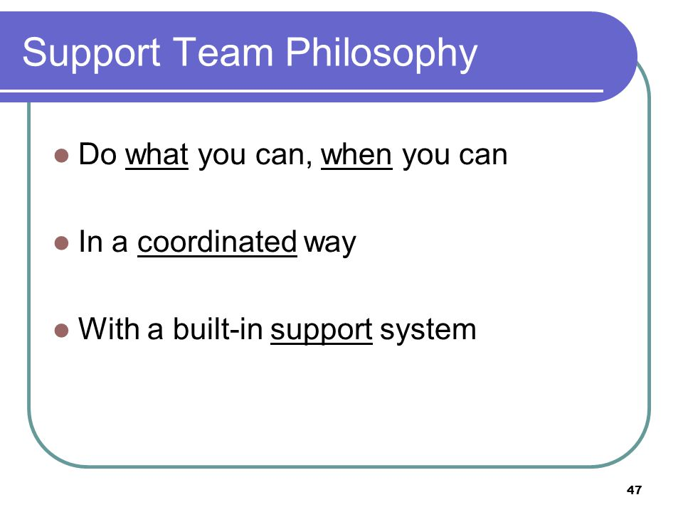 47 Support Team Philosophy Do what you can, when you can In a coordinated way With a built-in support system