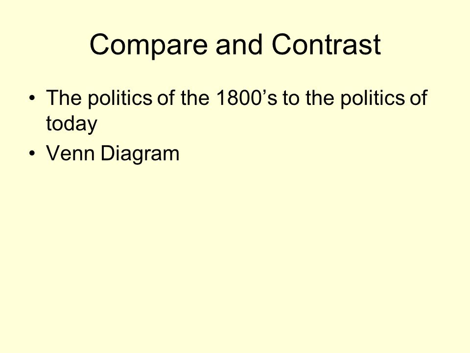 Compare and Contrast The politics of the 1800's to the politics of today Venn Diagram