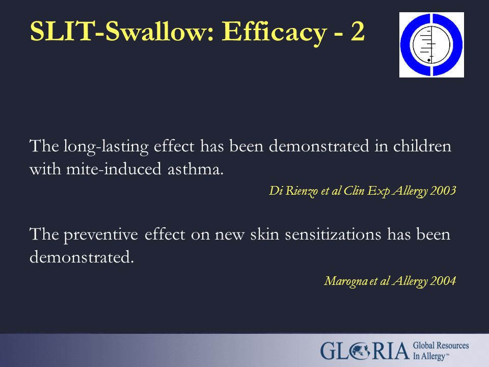 SLIT-Swallow: Efficacy - 1 A meta-analysis of 22 DBPC trials has shown that SLIT is effective in rhinitis caused by pollens and mites. There are few s