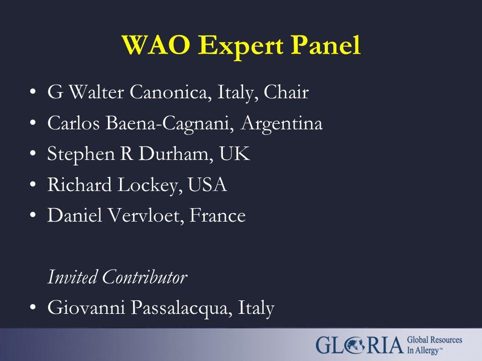 WAO Expert Panel G Walter Canonica, Italy, Chair Carlos Baena-Cagnani, Argentina Stephen R Durham, UK Richard Lockey, USA Daniel Vervloet, France Invited Contributor Giovanni Passalacqua, Italy