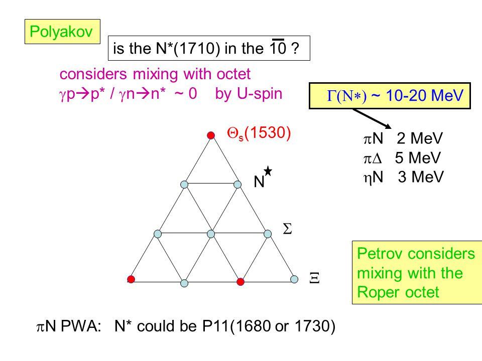  s (1530) N   Polyakov is the N*(1710) in the 10 .