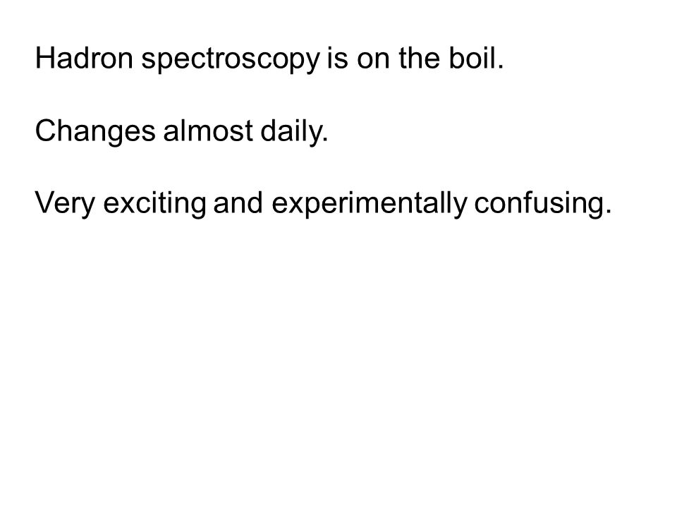 Hadron spectroscopy is on the boil. Changes almost daily.