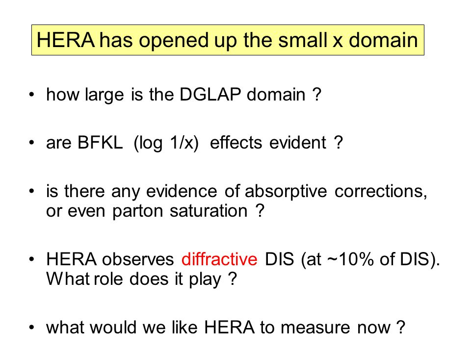 HERA has opened up the small x domain how large is the DGLAP domain .