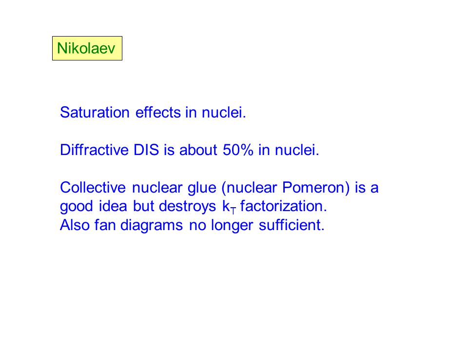 Nikolaev Saturation effects in nuclei. Diffractive DIS is about 50% in nuclei.