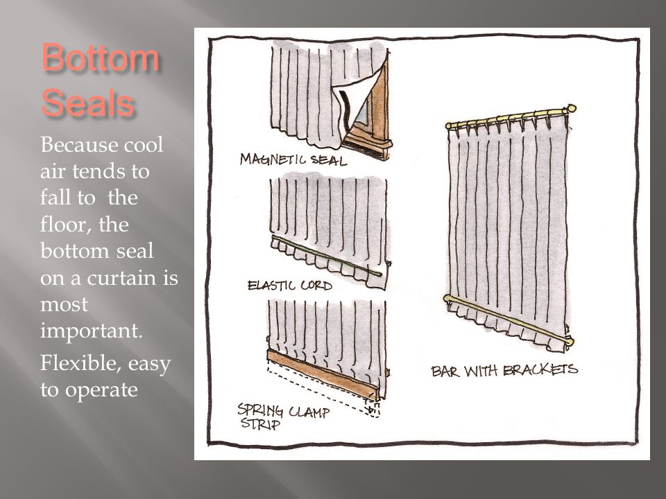 Because cool air tends to fall to the floor, the bottom seal on a curtain is most important.